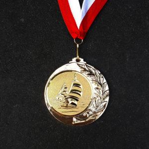 Medaille mit Gravuraufkleber, ca. 45 mm
