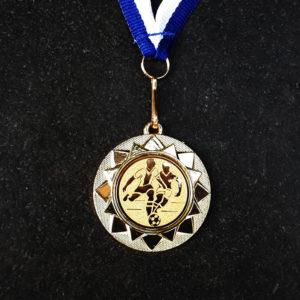 Medaille mit Gravuraufkleber, ca 40 mm Durchmesser