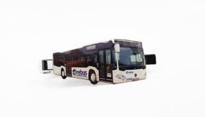 Krawattennadel mit Bus aus Metall, farbig
