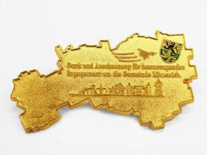 Ehrenplakette gold glänzend